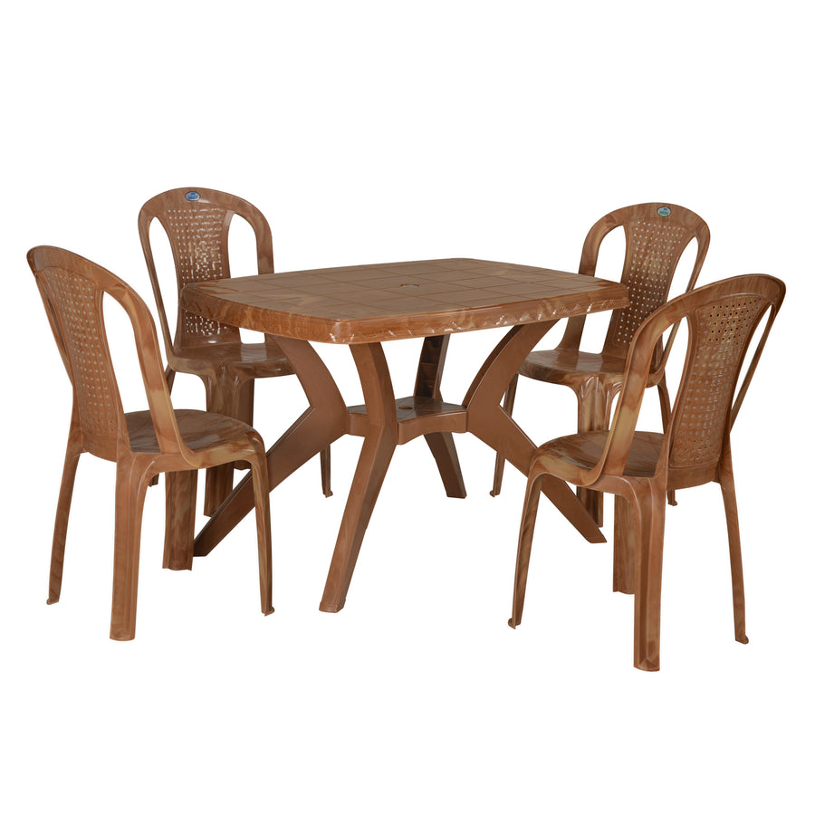 Nilkamal Shahenshah Kross 4 Seater Dining Set (Pear Wood)