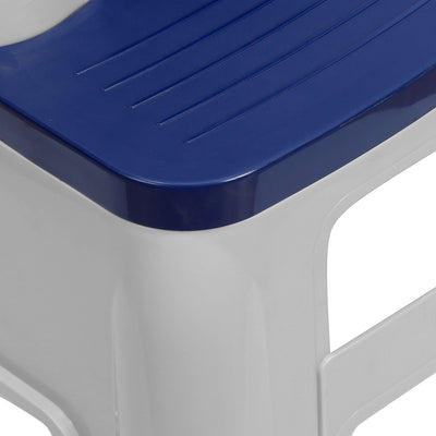 Nilkamal Stool 31 (Silk Grey/ Cobalt Blue)