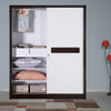 Nilkamal Tristar Sliding Wardrobe (Brown & White)