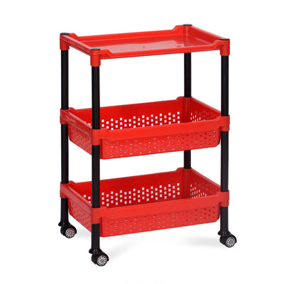 Nilkamal Trolley 15 Plastic (Black/Bright Red)