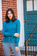 KARLIE Teal Smocked Top
