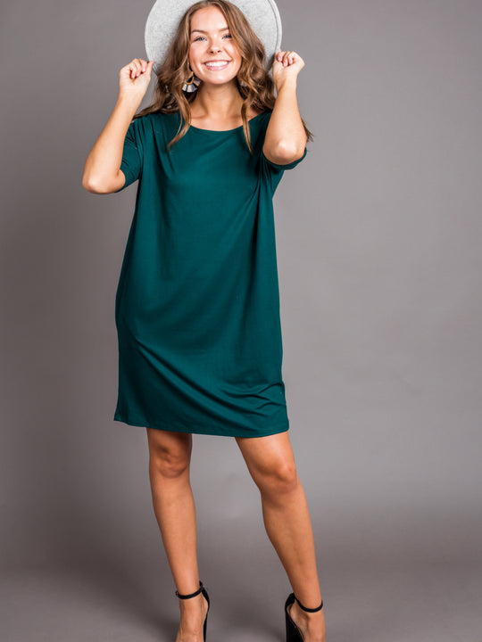 Emerald Dreams Knit Dress with Pockets