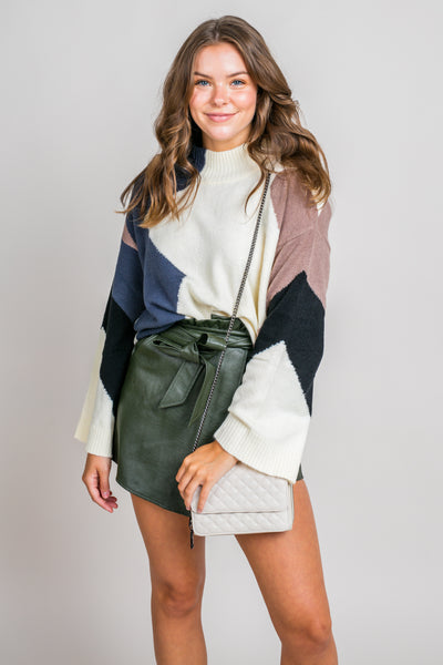 Real Cozy Colorblock Mock Neck Sweater