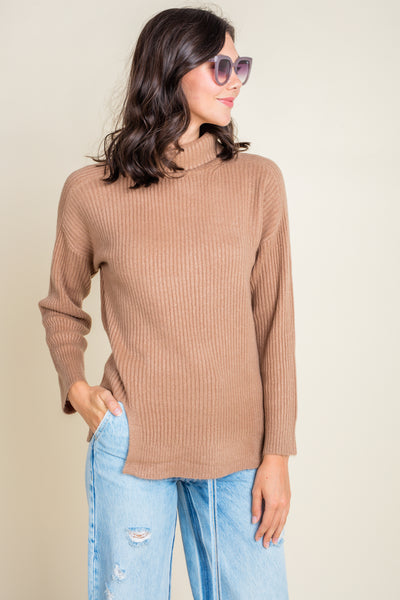 Mocha Dreams Turtleneck Ribbed Sweater