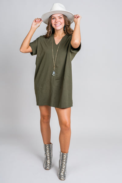 KARLIE Solid Knit V-Neck Signature Dress