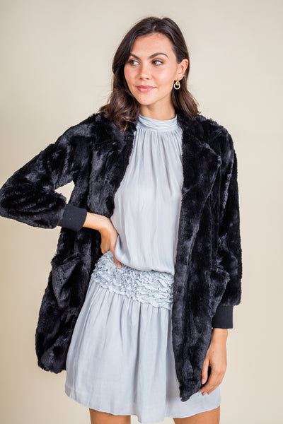 BB Dakota Swirl Next Door Faux Fur Coat
