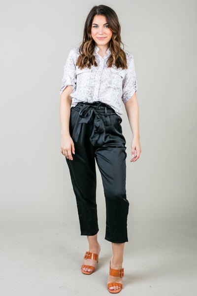 Piper Satin Tie-Waist Pants