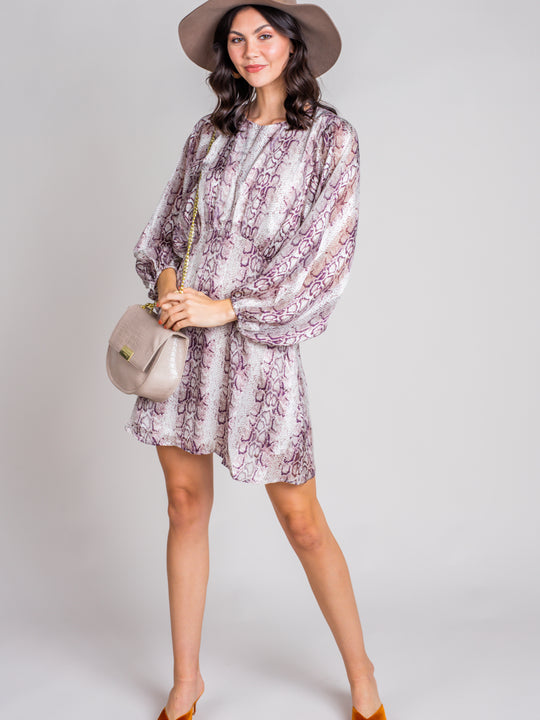Drive Me Wild Snake Print Long Sleeve Dress
