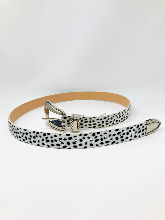 First Impression White Animal Print Belt