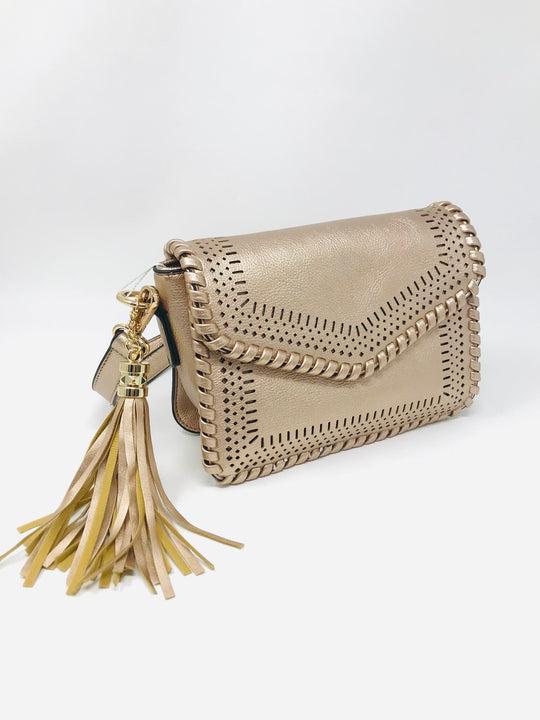 Lasercut Detail Braided Crossbody in Rose Gold