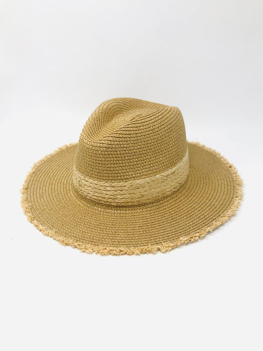 LUCCA Barcelona Sun Straw Hat with Raw Edges