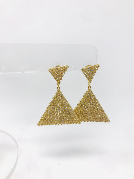 CZ Double Triangle Earrings