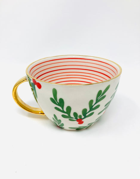 Holly Berry Hand Painted Mug