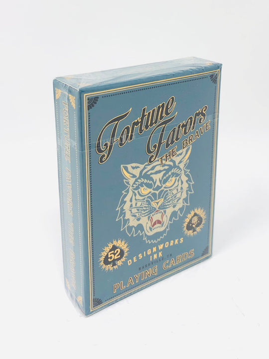 "Teal ""Fortune Favors the Brave"" 52 Card Deck"