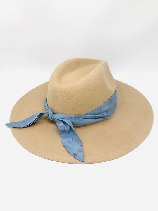 LUCCA Stardust Bandana Wool Fedora in Ivory