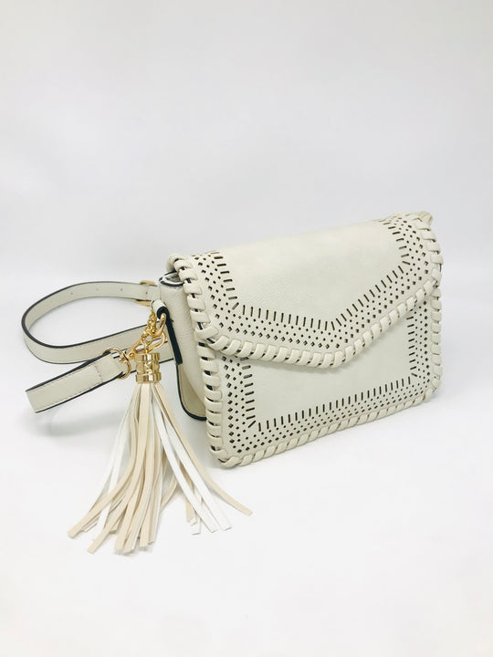 Lasercut Detail Braided Crossbody in Off White