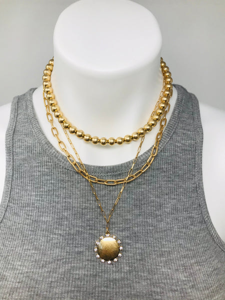 Disc Charm Metal Ball & Chain Necklace