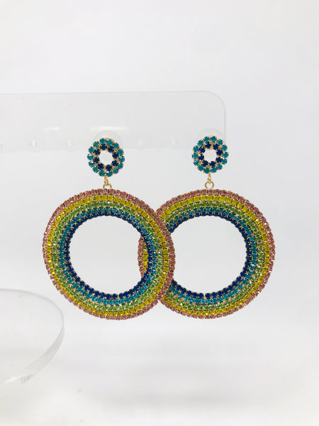 Rainbow Circle Drop Earrings