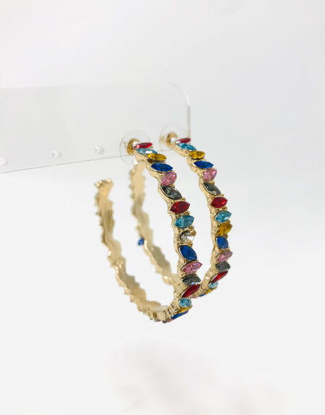 Marquise Bead Open Hoops