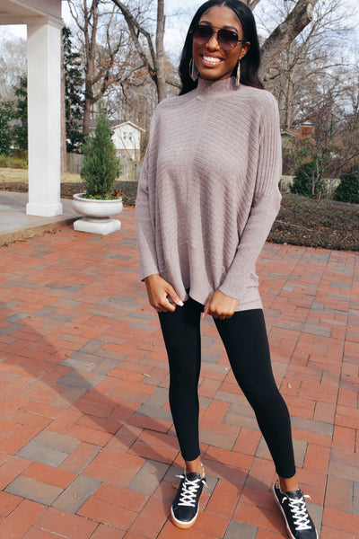 No Plans Ribbed Knit Oversized Sweater