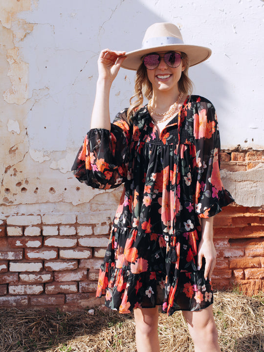 KARLIE Floral Chiffon Dress