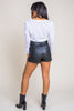 Yes Please Pleather Belted Shorts