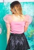 Summer Dreams Organza Puff Sleeve Knit Top