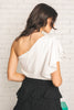 Moving With Class Pleated One Shoulder Top