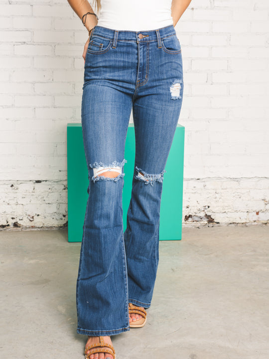 Dream Girl Distressed Bootcut Jeans
