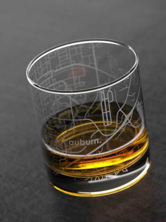 Auburn Map Whiskey Glass
