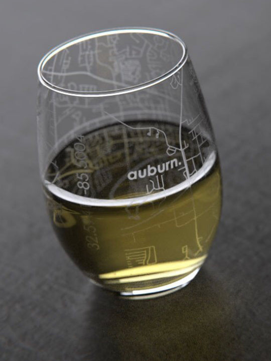 Auburn Map Stemless Wine Glass