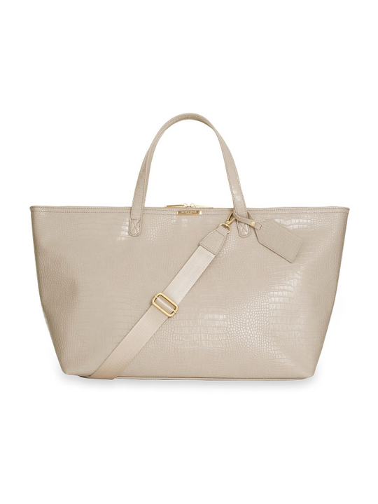 Katie Loxton Celine Faux Croc Travel Bag in Oyster Grey
