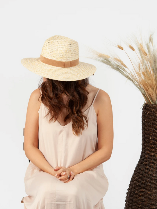 LUCCA Castaway Boater Straw Hat in Natural Tan