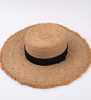 LUCCA Aiden Fray Straw Hat in Tan