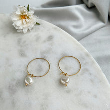 Load image into Gallery viewer, Pearl Hoop Everyday Earrings