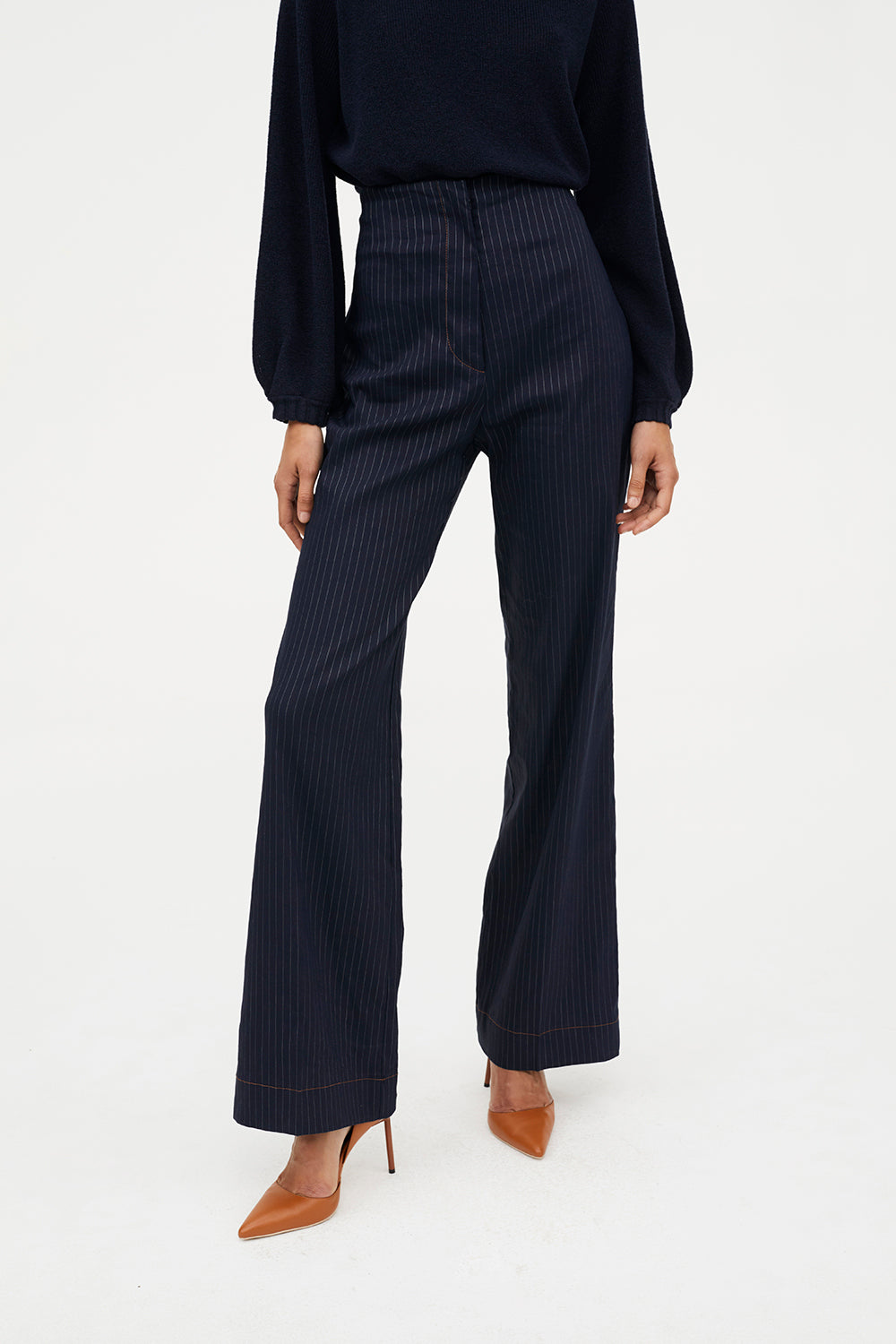 5d84e7858a4 Utility Theory Wide Leg Pant in Navy | Ethical Designer Pants by ...