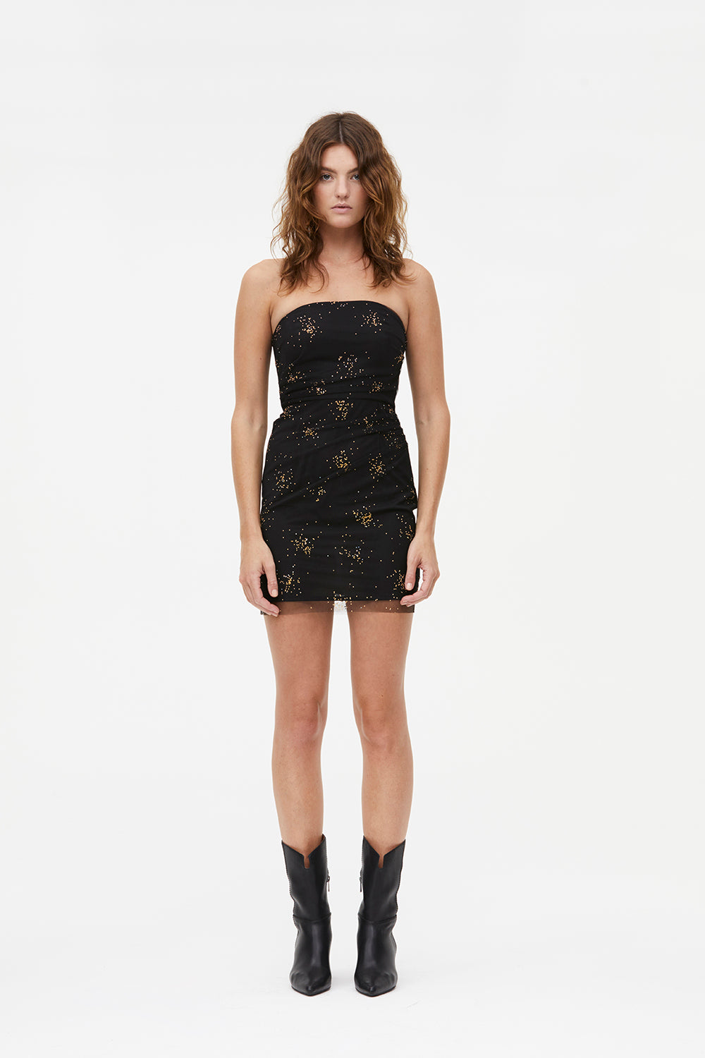 GLITZ BLITZ STRAPLESS MINI DRESS