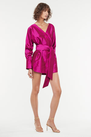 ULTRA FUCHSIA LONG SLEEVE MINI DRESS