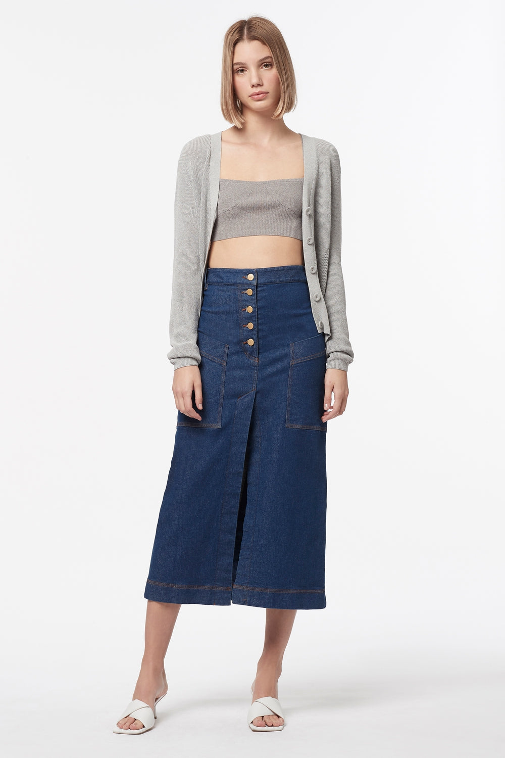 FADED GLORY DENIM MIDI SKIRT
