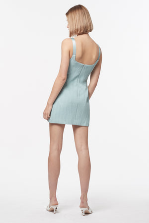 HERRINGBONE RAFFIA MINI DRESS