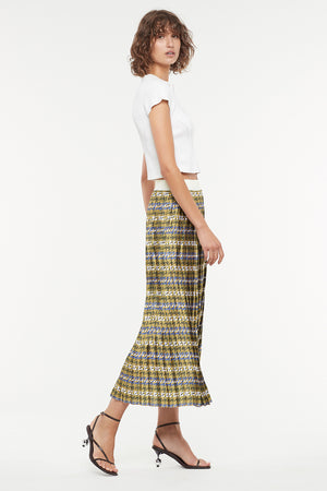 SPORTY HOUNDSTOOTH PLEATED SKIRT
