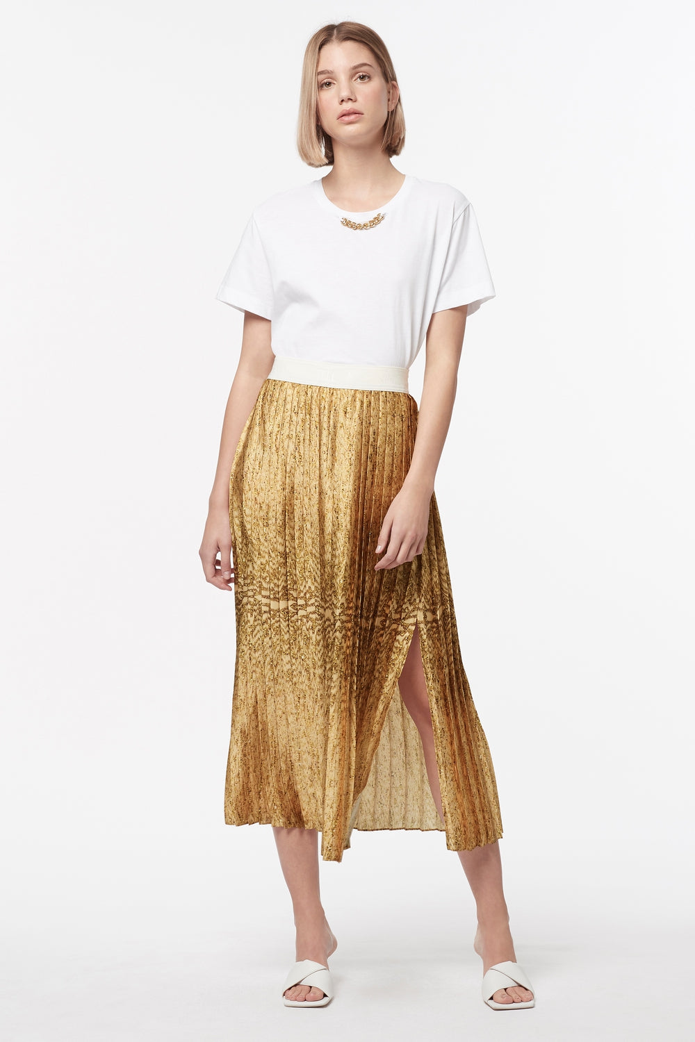 GOLDEN ATLAS PLEATED SKIRT