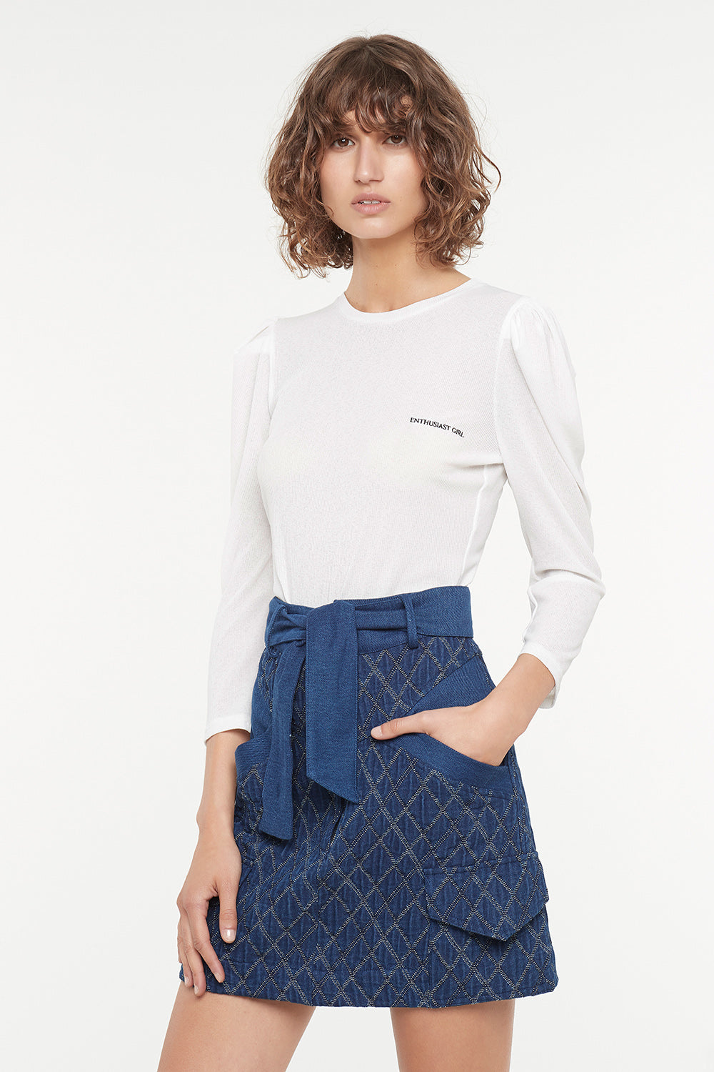 QUILTED DENIM MINI SKIRT