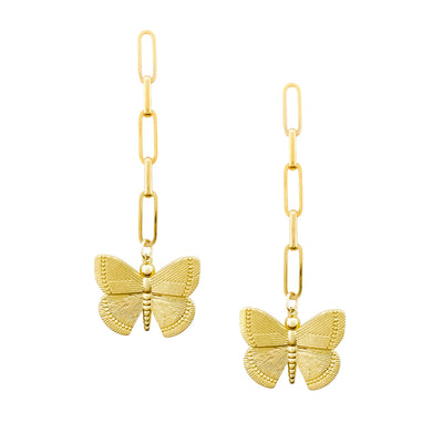 Butterfly Drop Earrings, Gold Statement Earrings, Gold Butterfly Earrings