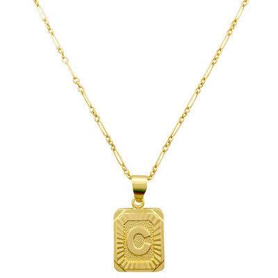 Initial Card Necklace, Initial Necklace, Alphabet Necklace, Monogram Necklace, Initial Disc Necklace, Gold Layering Necklace