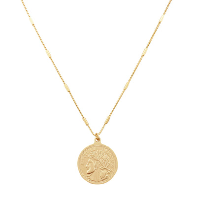 gold coin necklace, gold layered necklace, gold layering necklace