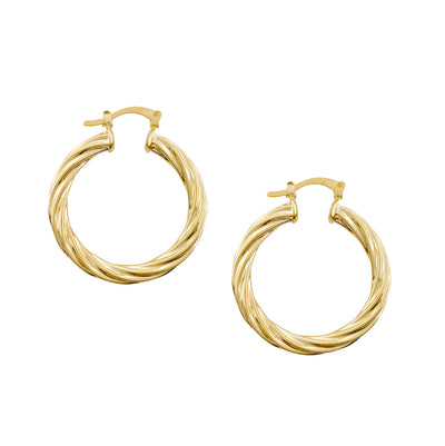 Gold Hoop Earrings, Twisted Gold Hoops, Gold-Filled Hoop Earrings