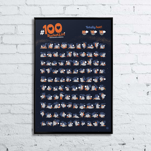 100 BUCKET LIST KAMASUTRA Edition Scratchable Poster