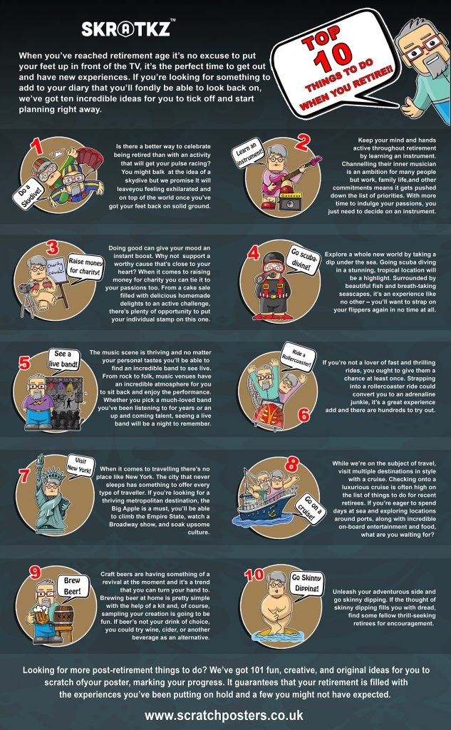 top 10 things to do when you retire infographic