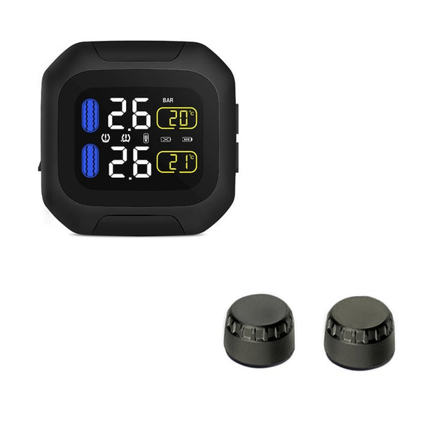 M3 Motorcycle Tyre Pressure Monitoring System - Wireless - LCD Display  Toffee Tops Gear